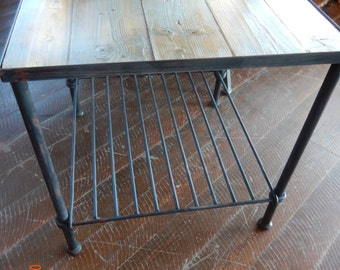 Handcrafted Knotted Wrought Iron Side Table Of Recycled Steel With  Reclaimed Barn Wood Top