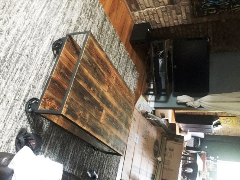 Vintage Industrial Coffee Table on Steel Casters. Reclaimed image 0