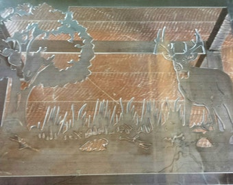 Custom Drop-Tine Deer Buck Cut Out Silhouette Rectangular Wrought Iron Recycled Steel Glass Top Coffee Table With Four Hand Hammered Legs
