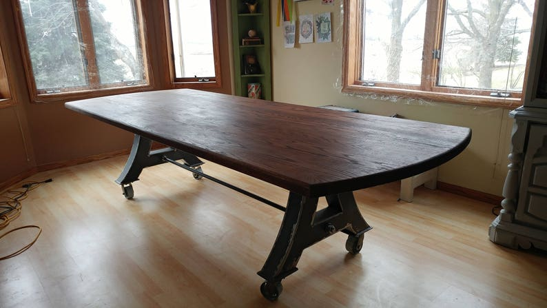Modern Industrial Ten Foot Dining Table Kitchen Table Conference Table With A Metal Base On Metal Casters And A Dark Oak Table Top