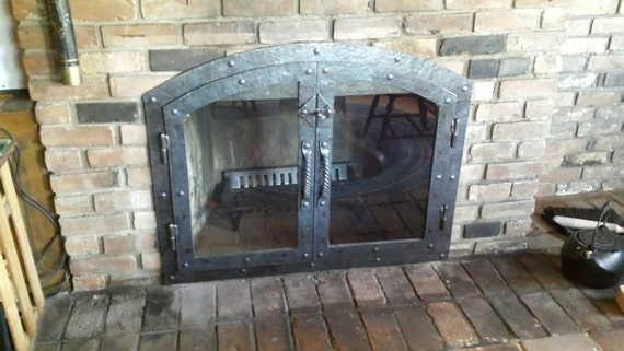 custom hammered iron fireplace doors with glass and twisted etsy rh etsy com forged iron fireplace doors iron house fireplace doors