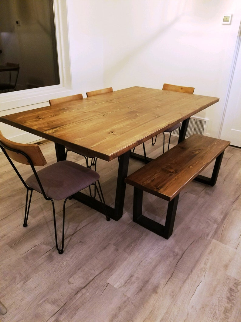 Modern Industrial Minimalist Style Dining Table Kitchen Table Conference Table With Black Metal Base And Wood Top