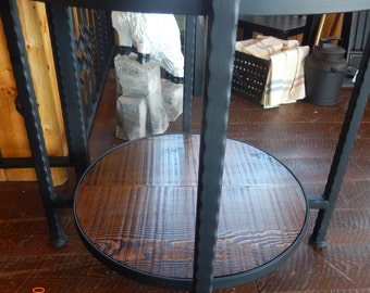 Handcrafted Round Wrought Iron Side Table Made of Recycled Steel w/Fir Table Top