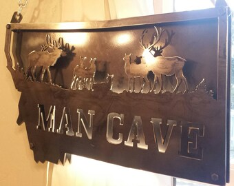 Custom Metal 3-D State of Montana (Or State of Choice) MAN CAVE Elk Scene Sign with Double Layers Bolted Together and LED Lights Between