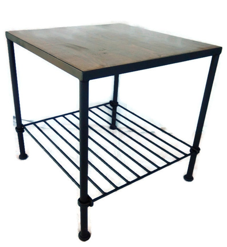 Handcrafted Knotted Wrought Iron Side Table Of Recycled Steel With Your  Choice Of Wood Tops