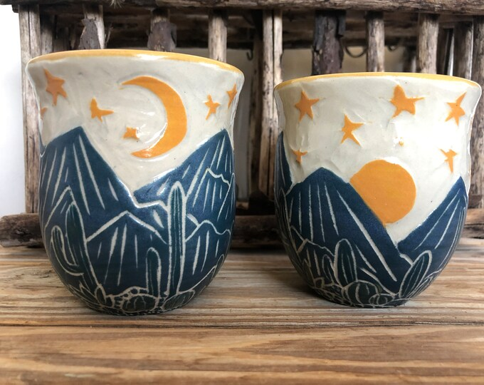 Starry Mountains And Cactus Cups