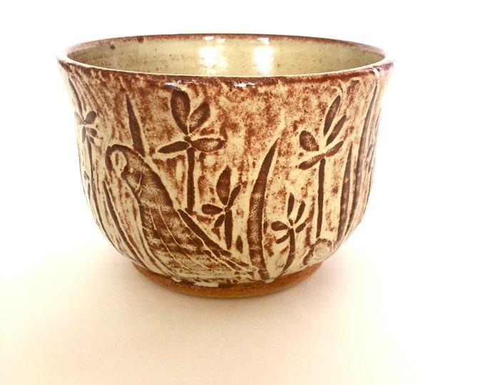 Quail Family Carved Bowl