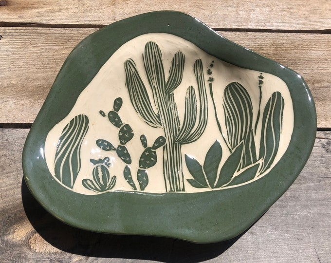 Blue Mum and Cactus Dishes and Plates