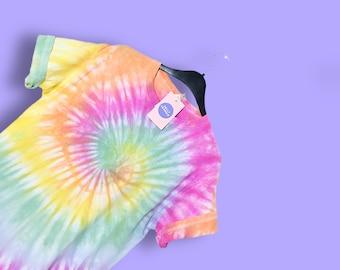 2d23e133c03a2c Pastel rainbow spiral tie dye tshirt