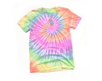 4413a4622 Pastel rainbow spiral tie dye tshirt | Custom tie dye tshirt, festival tie  dye, tie dyed tee, plain tie dye top, spiral, unisex