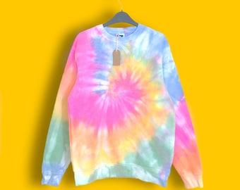 8cf4c6a2 Pastel Rainbow Tie dye sweatshirt   Pastel tie dye, tie dye jumper, spiral tie  dye, festival fashion, tie dye gift, pullover, unisex
