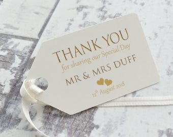 10 x personalised wedding favour tags thank you for sharing our special day