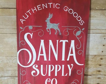 Christmas sign, Santa sign, Christmas decor, wood Christmas sign, wood Santa sign, reindeer sign, North pole sign, Santa Claus, Christmas