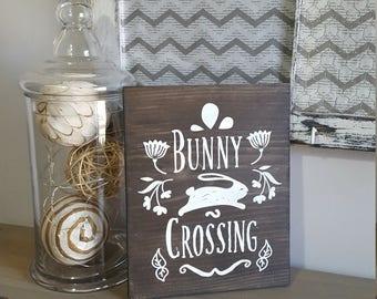 easter sign, easter decor, wood easter sign, wooden easter sign, easter bunny, easter buuny sign, bunny crossing, wooden easter bunny sign