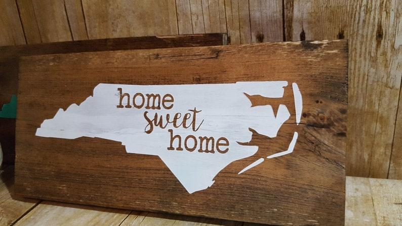 Home sweet home sign North Carolina sign state outline ...