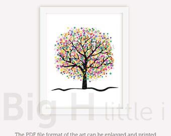 Tree wall art colorful wall art nursery printable colorful tree digital print wall decor