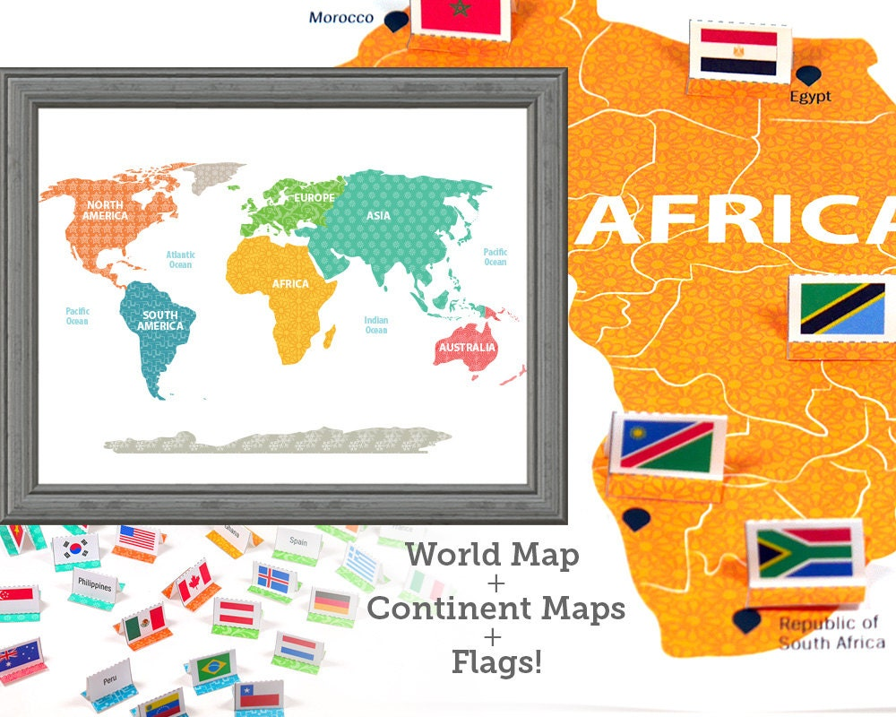 World Map World Flags Learning Toys Wall Art Kids Room Etsy