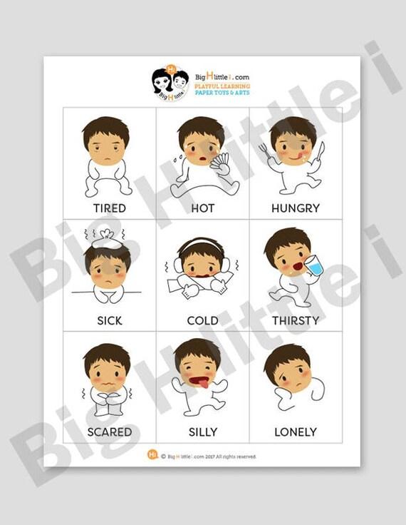 Emotions Flashcards Printable Preschool Classroom Flash Cards