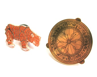 His Dark Materials double pin pack, Alethiometer/Golden Compass and Iorek Byrnison enamel pin