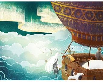 His Dark Materials fan Illustration - Escape from Bolvanger - A3 Print