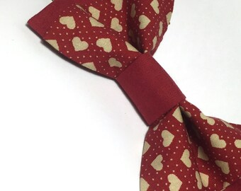 Red heart bow tie