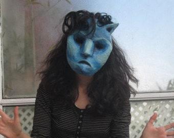 Mask cat Blue Paper Mache magic strange animal