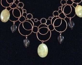 Necklace - Copper Plated Chain with Jade and Smoky Quartz