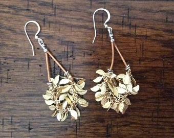 Gold Plated Feather Chain Earrings