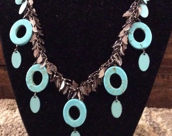 GUNMETAL PLATED FEATHER Chain with Turquoise and Enameled Dangles