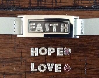 STAINLESS STEEL Magnetic Memory Locket - Faith, Hope, Love