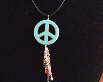 SALE SALE SALE Peaceout Leather Cord And Sterling Silver Necklace