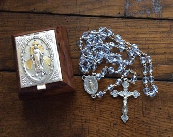 LIGHT SAPPHIRE SWAROVSKI Crystal Rosary with Pewter Components, Rosary Box Optional