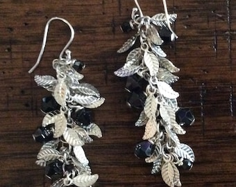 Beautiful Silver Plated Feather Chain and Swarovski Crystal Earring, Sterling Silver Ear Wire