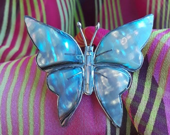 Sterling silver mother of pearl iridescent butterfly brooch