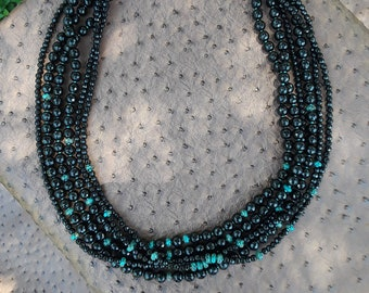 Faceted black onyx and natural turquoise six strand necklace