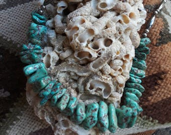 Native American turquoise nugget and Sterling beaded necklace