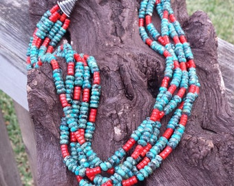 Turquoise and coral five strand necklace