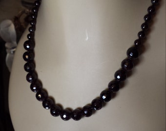 Red garnet faceted natural stone necklace
