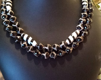 Two strand beaded faceted black and white painted jasper