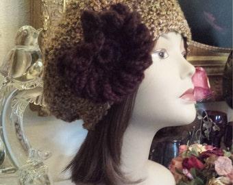 Winter hat with flower on side crochet by petronella