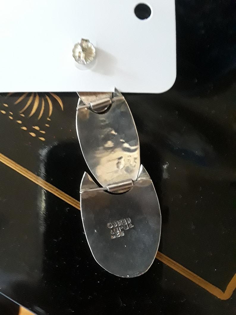 Sterling silver three tiered native American pierced earrings