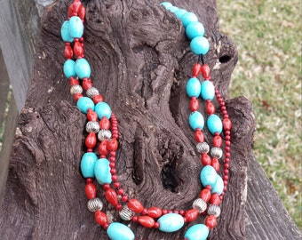 Turquoise and coral three strand necklace