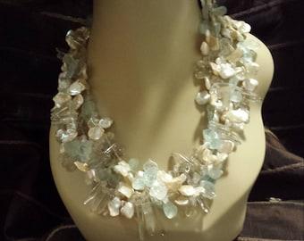 Aquamarine, phantom quartz and Keshi pearl four strand designer necklace