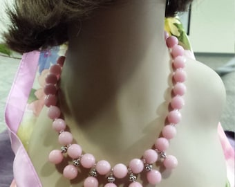 One strand Semi-precious stone pink faceted jade necklace