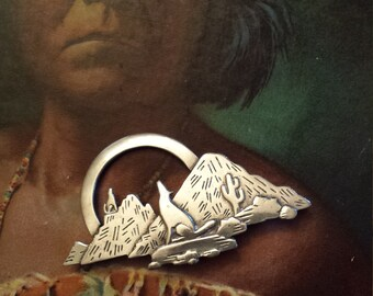 Sterling silver native American pin artist made
