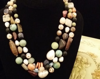 Colorful 3 Strand Multi Color Semi Precious Stone Necklace