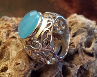 Sterling silver blue faceted Chalcedony ring