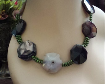 Two strand beaded faceted onyx and green turquoise necklace