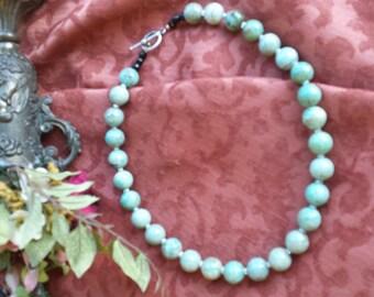 Turquoise color amazonite 14mm round polished with vintage rhinestone rondels
