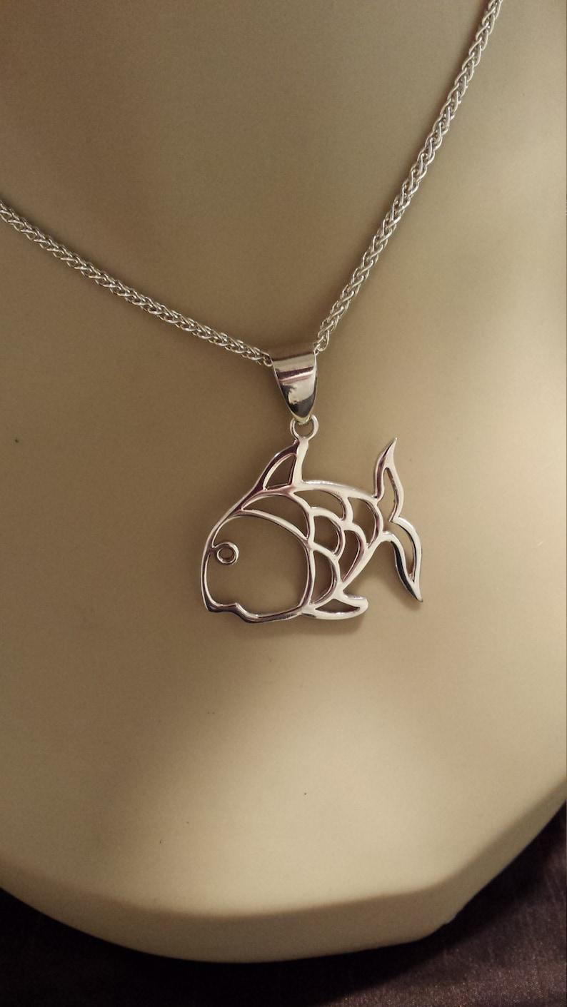 Sterling silver vintage fish pendant